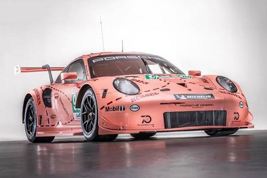 粉红猪再现,保时捷911 rsr赛车身披经典赛车涂装参加勒芒